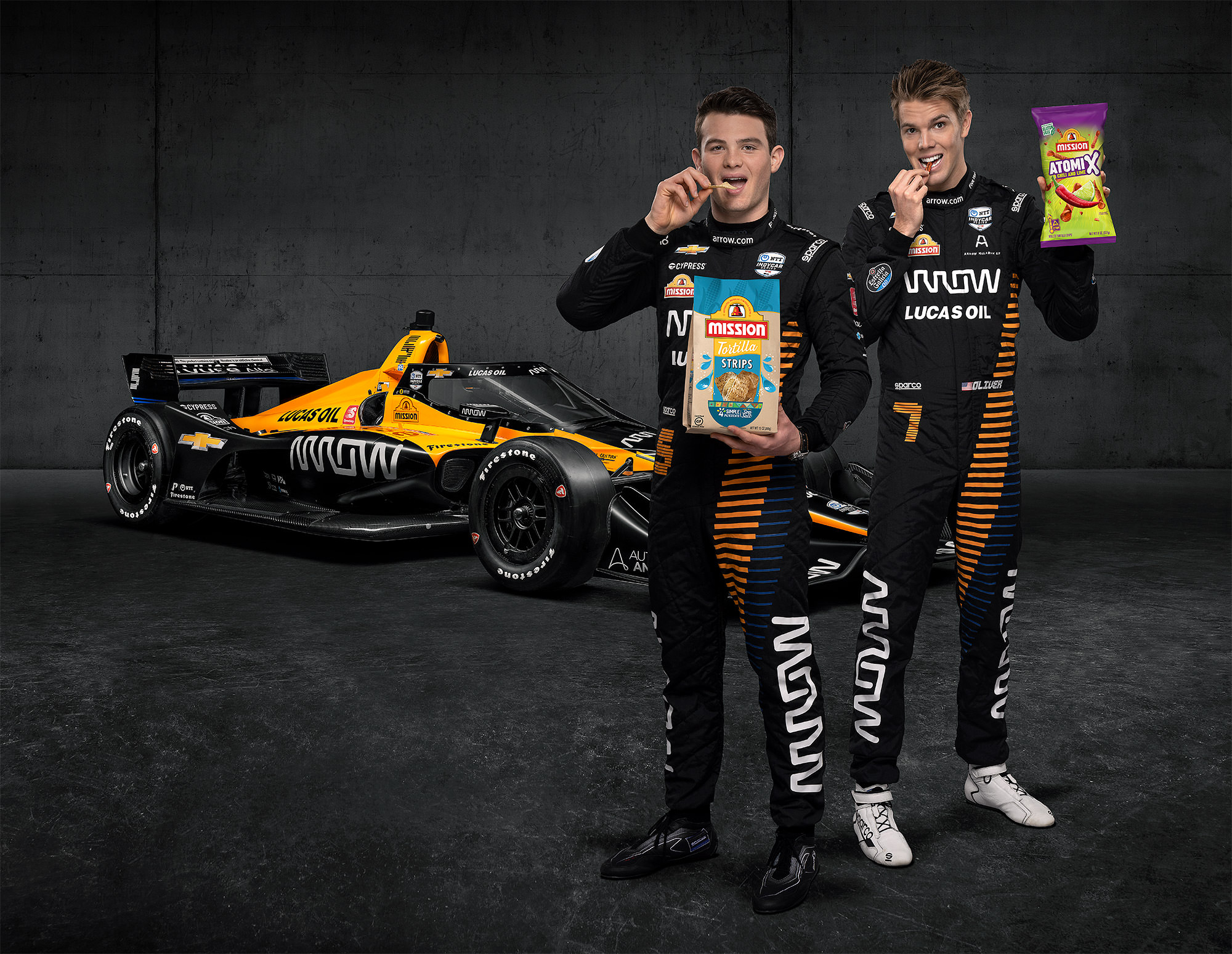 Mission Foods Arrow McLaren SP IndyCar drivers Patricio O'Ward and Oliver Askew