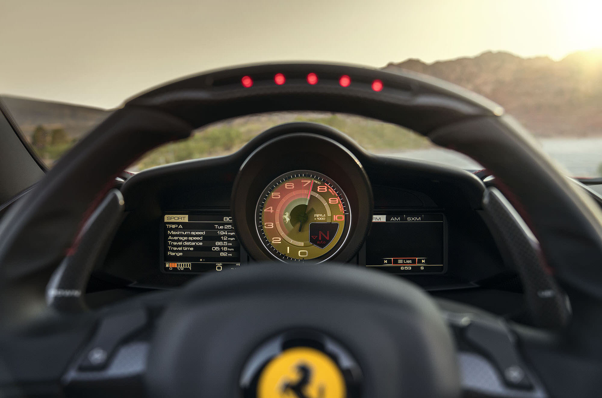 Ferrari 488 Spider gauges