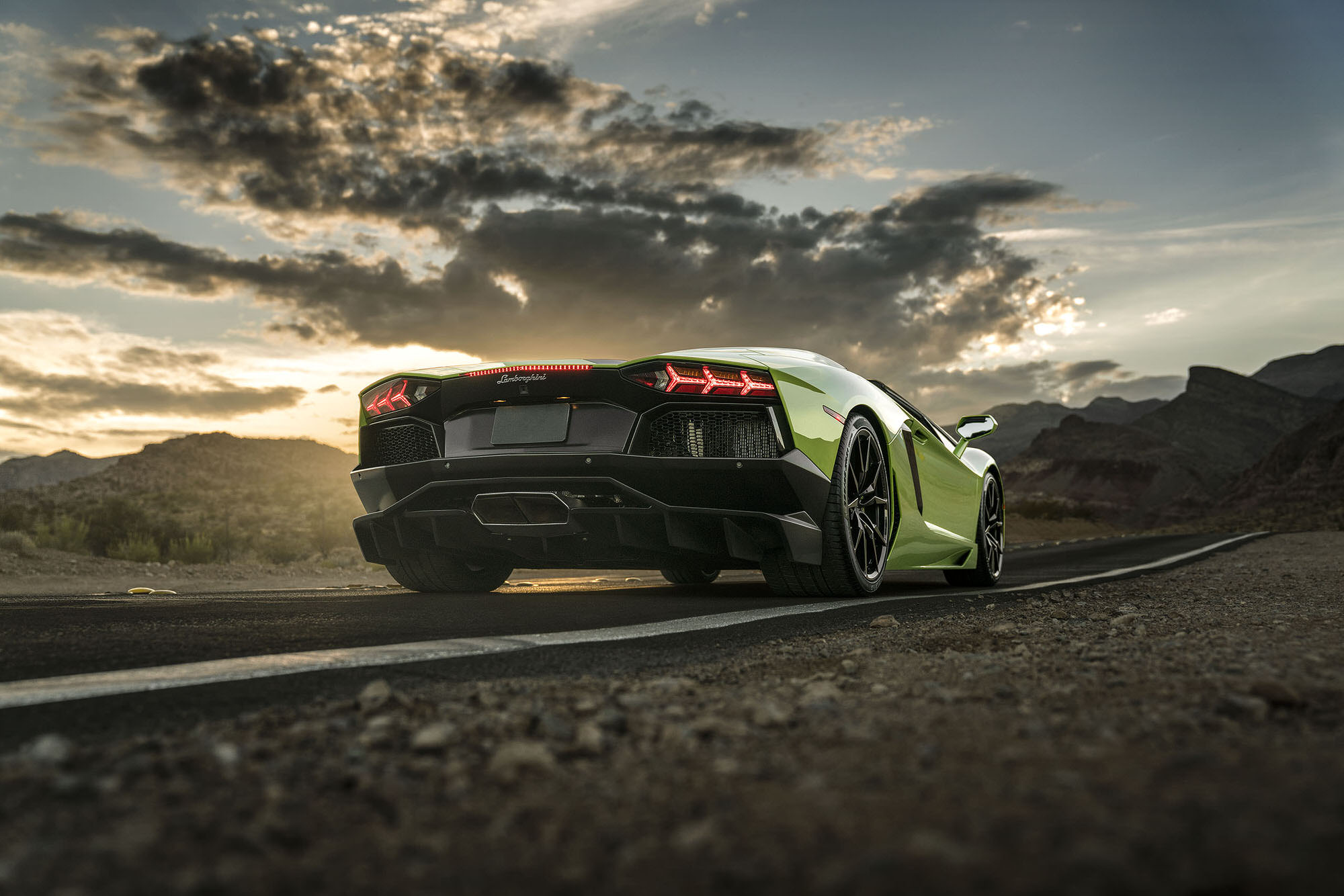 Lamborghini Aventador during sunset at Red Rock Canyon