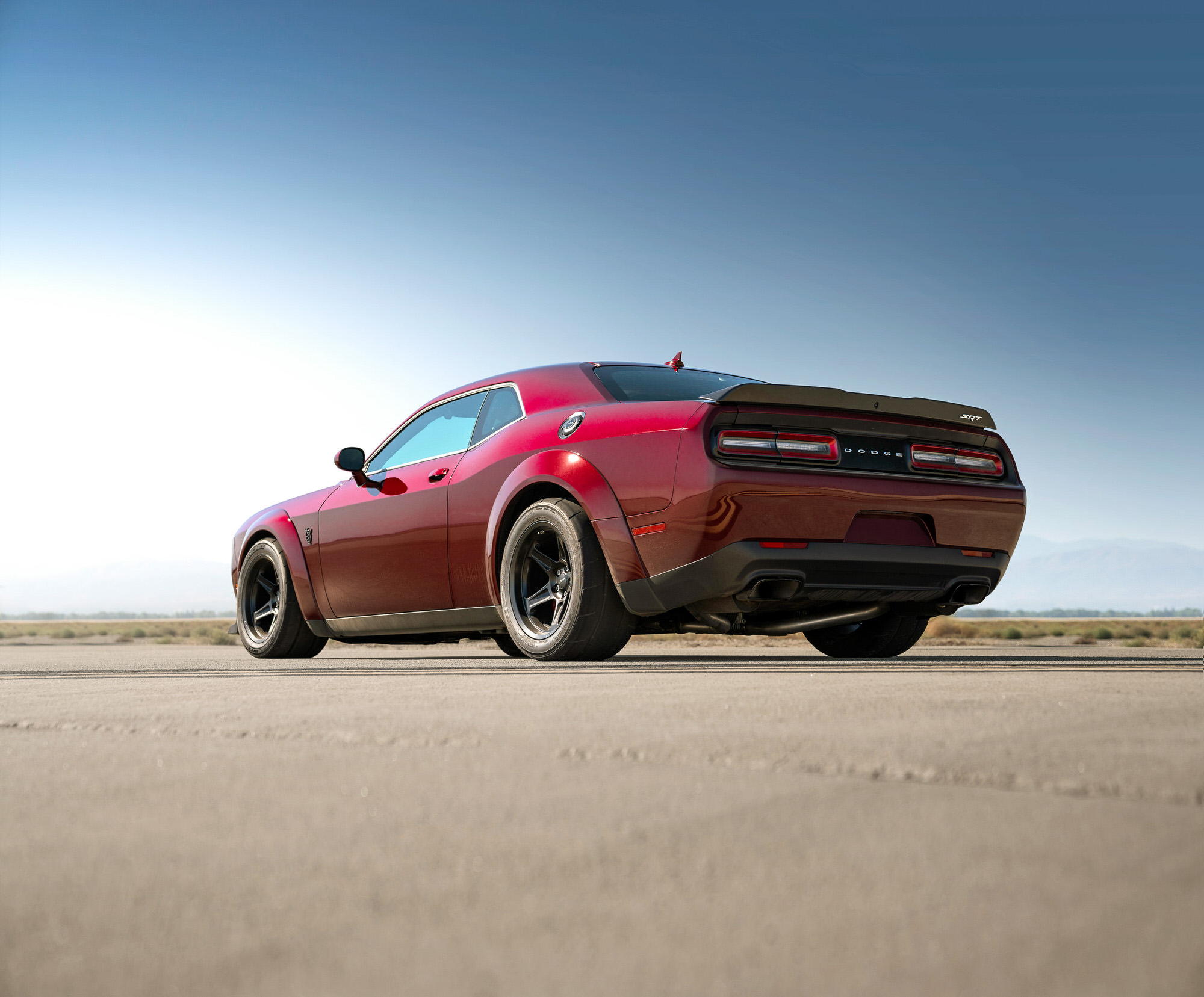 Dodge Demon on tarmac at NASA Armstrong Flight Research Center