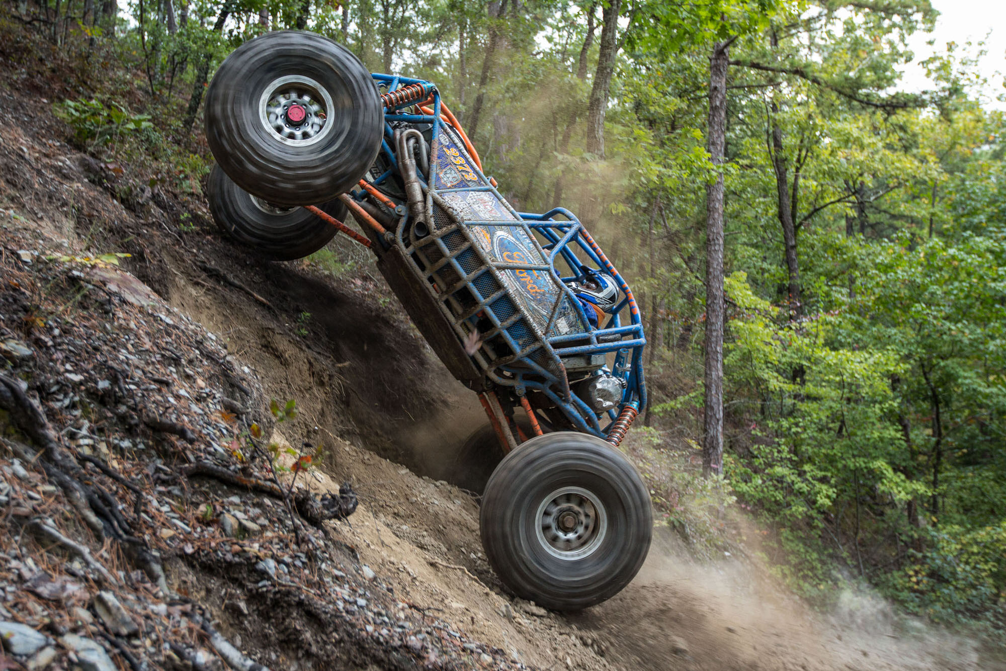 Rock Bouncing Bounty Hill  in Arkansas, photographed for Car and Driver Magazine
