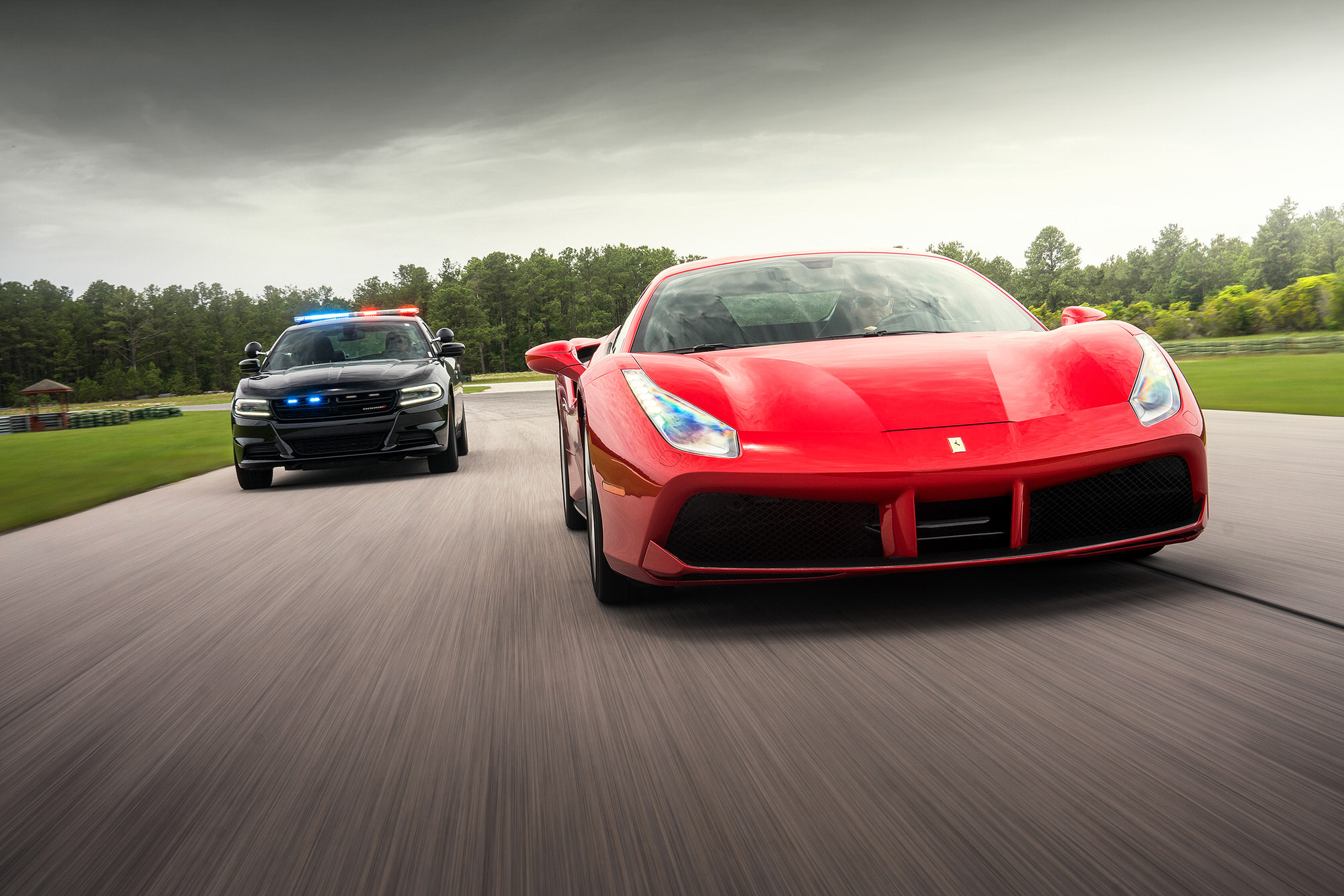 Police Dodge Charger Pursuit chasing a Ferrari 488GTB