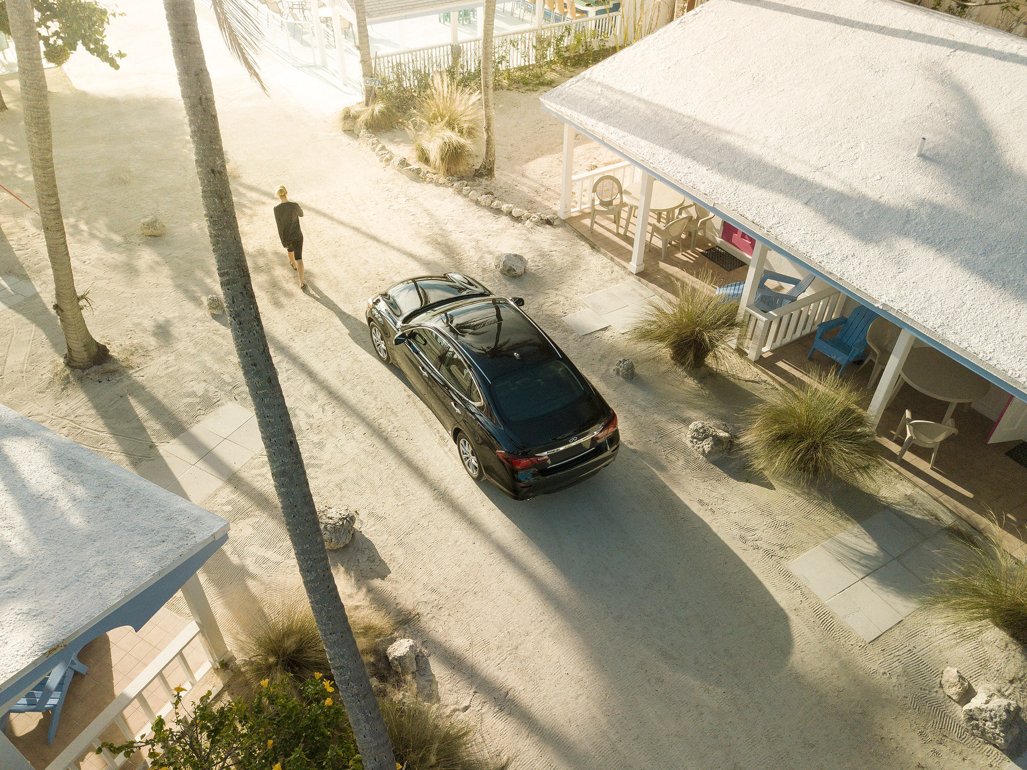 Infiniti Q70 at the beach in Islamorada, Florida.