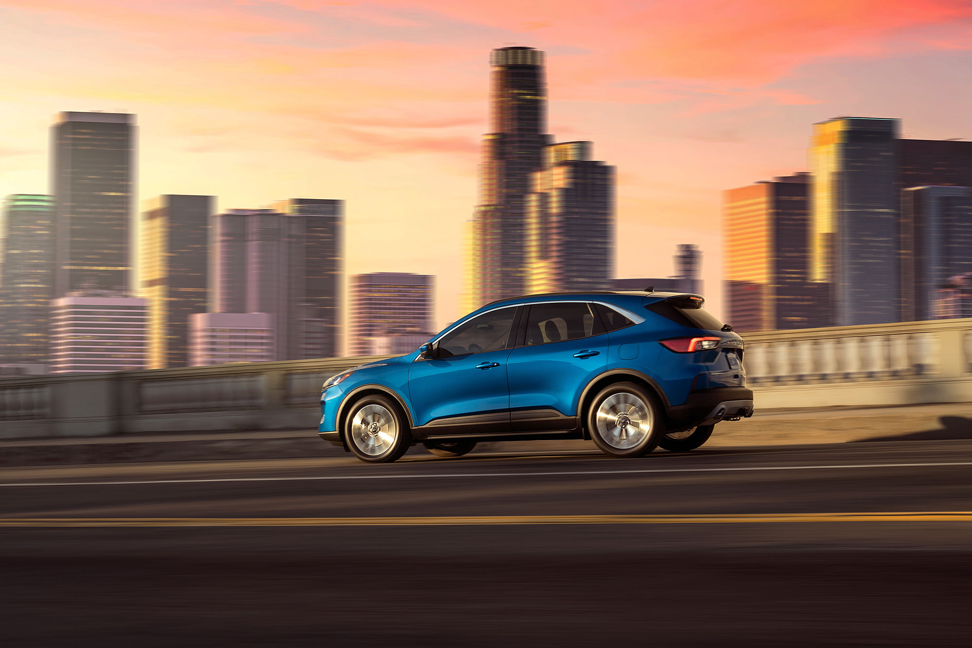 Commercial photoshoot for the 2020 Ford Escape in downtown Los Angeles, CA