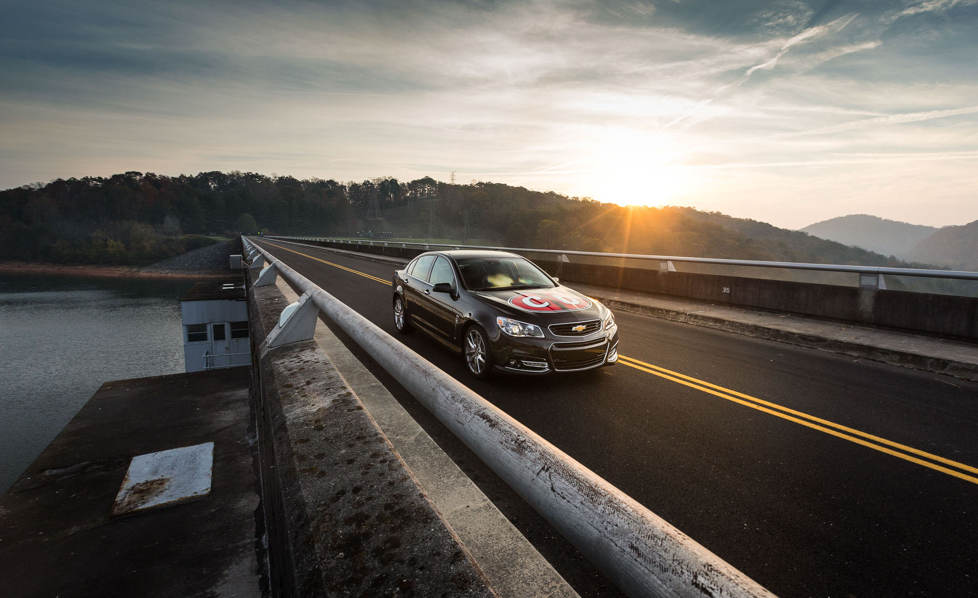 Chevrolet SS on top of dam outside Knoxville, Tennessee, shot for Car and Driver Magazine