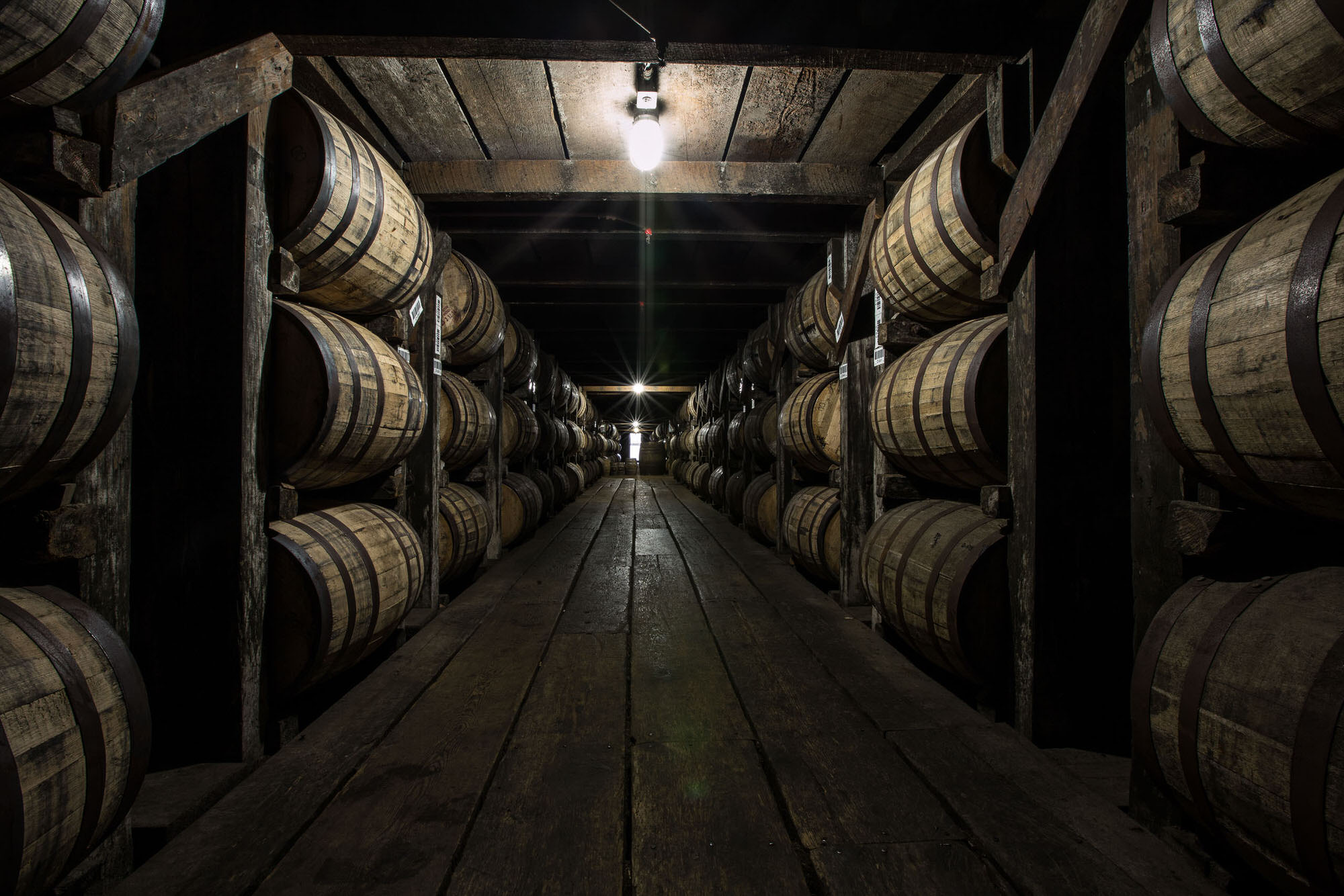 Rows of barrels at the Buffalo Trace Distillery in