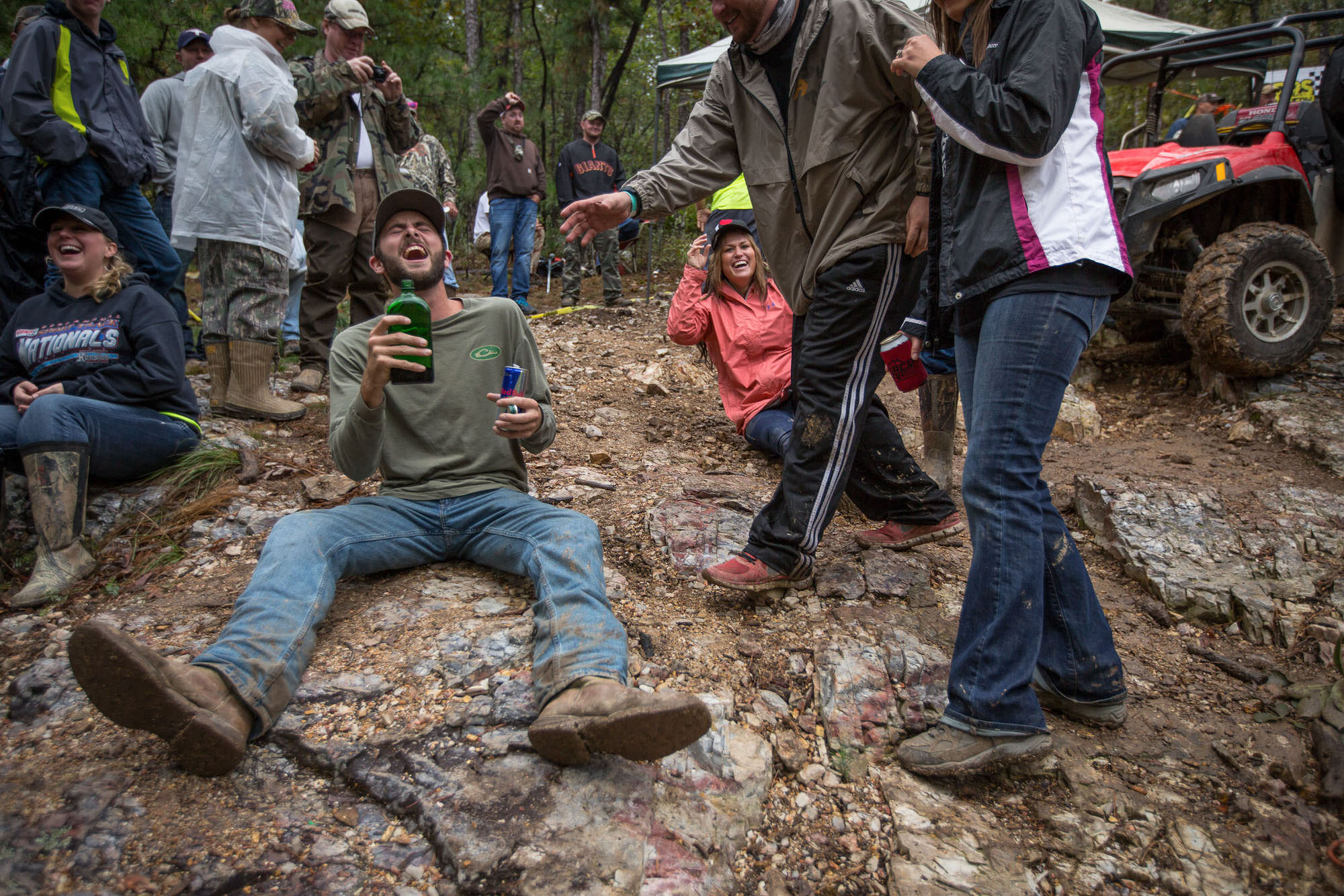 Rock Bouncing fans drinking booze in Arkansas, photographed for Car and Driver Magazine