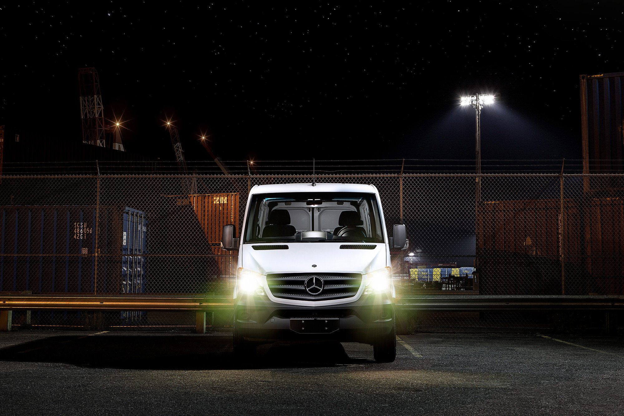 White Mercedes-Benz Sprinter Van commercial photography