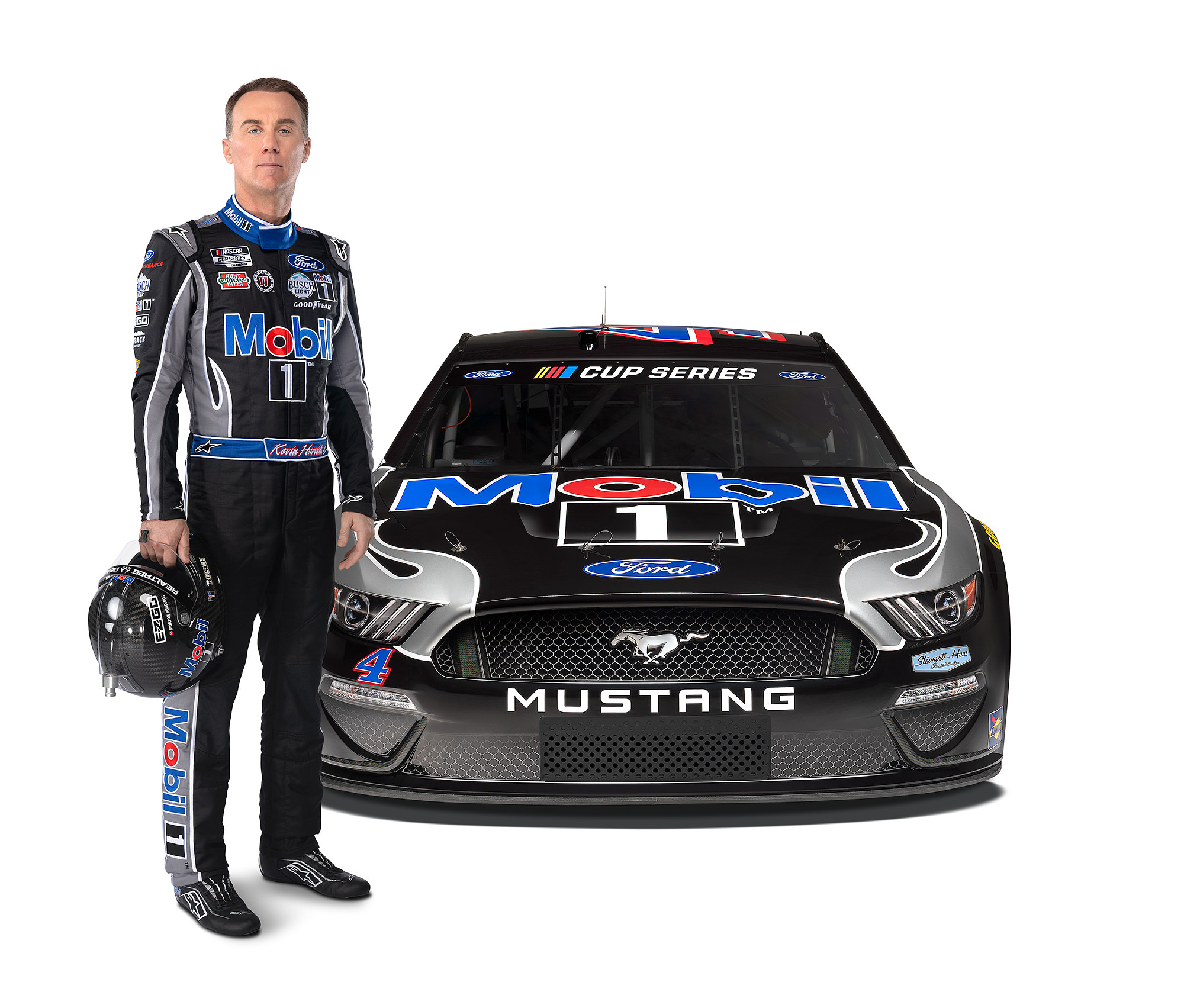 Kevin Harvick next to NASCAR Ford Mustang