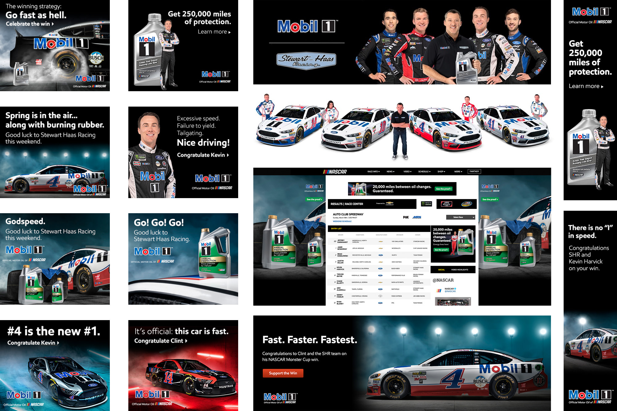 Exxon Mobil 1 NASCAR advertising tearsheets