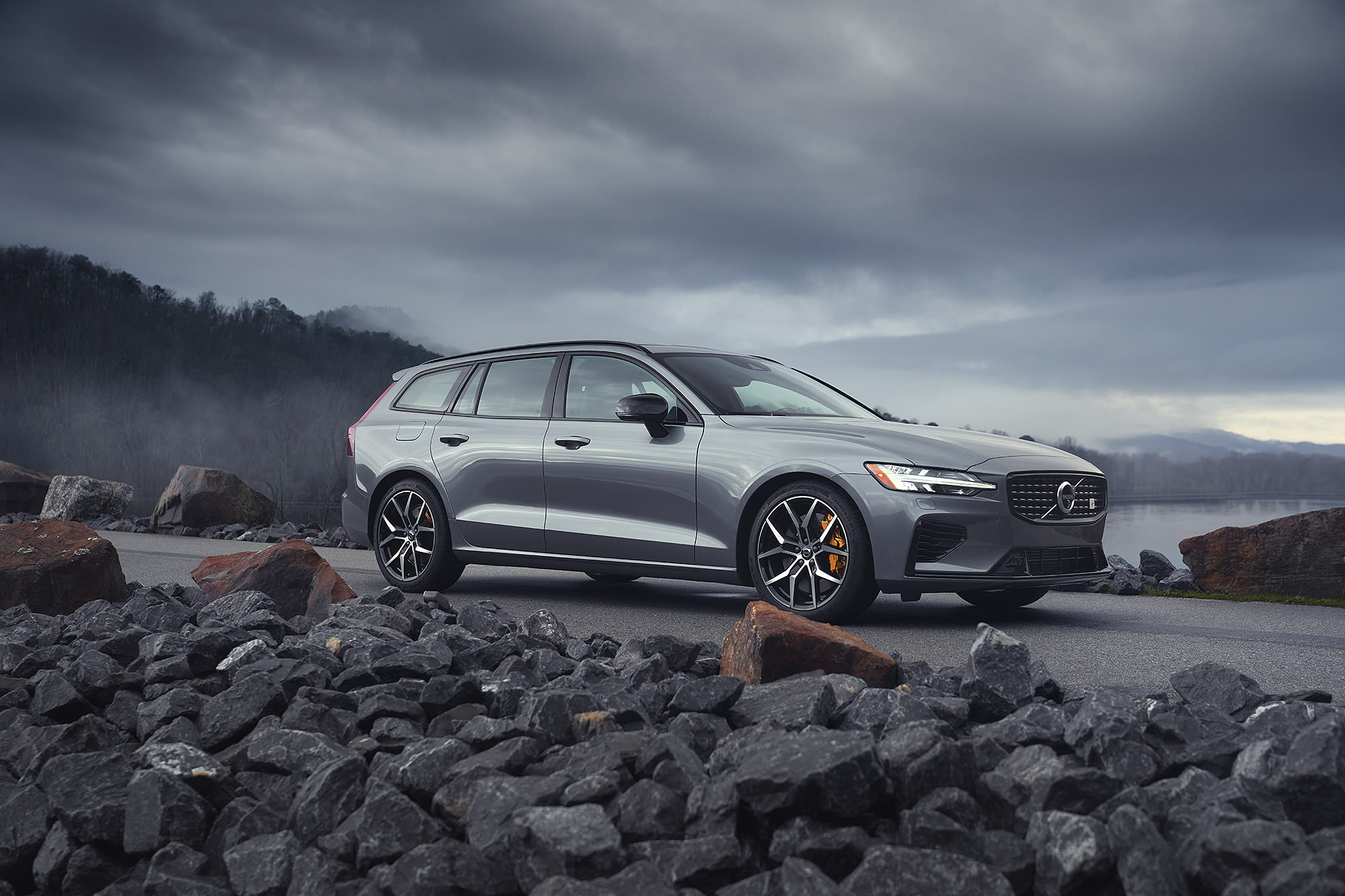 Volvo V60 T8 Polestar photographed on a dam for Road and Track Magazine