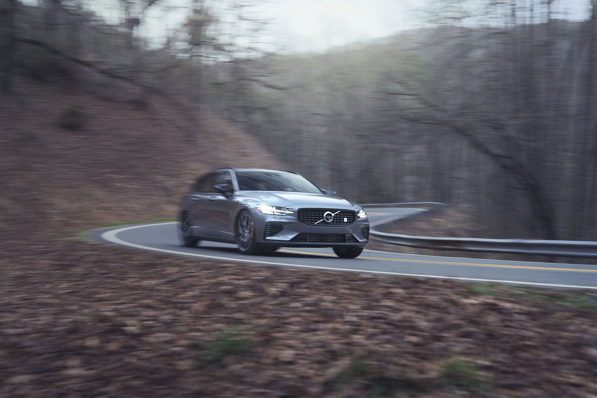Volvo V60 T8 Polestar driving on twisty mountain roads