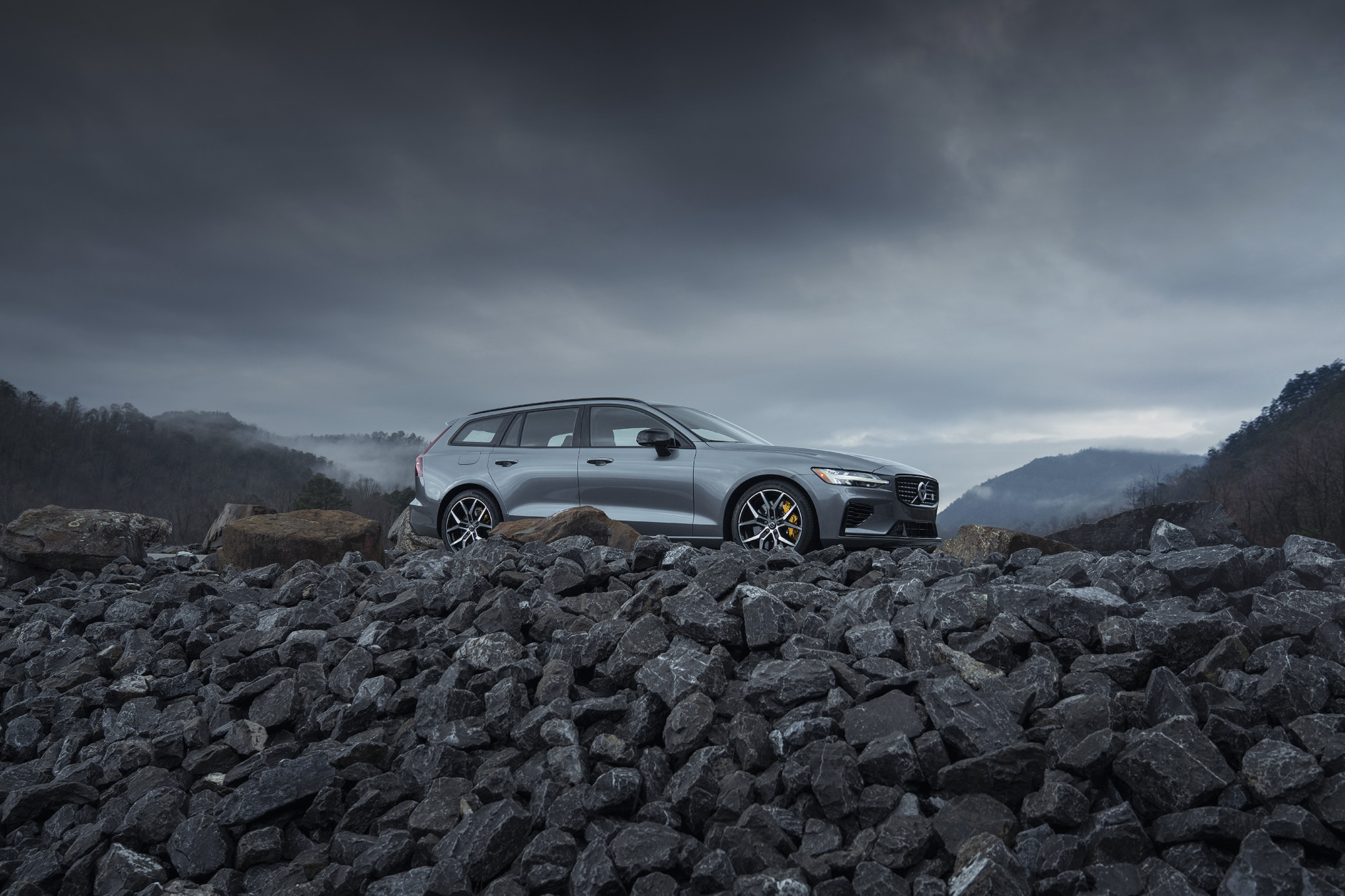 Volvo V60 T8 Polestar photographed in the mountains for Road and Track Magazine