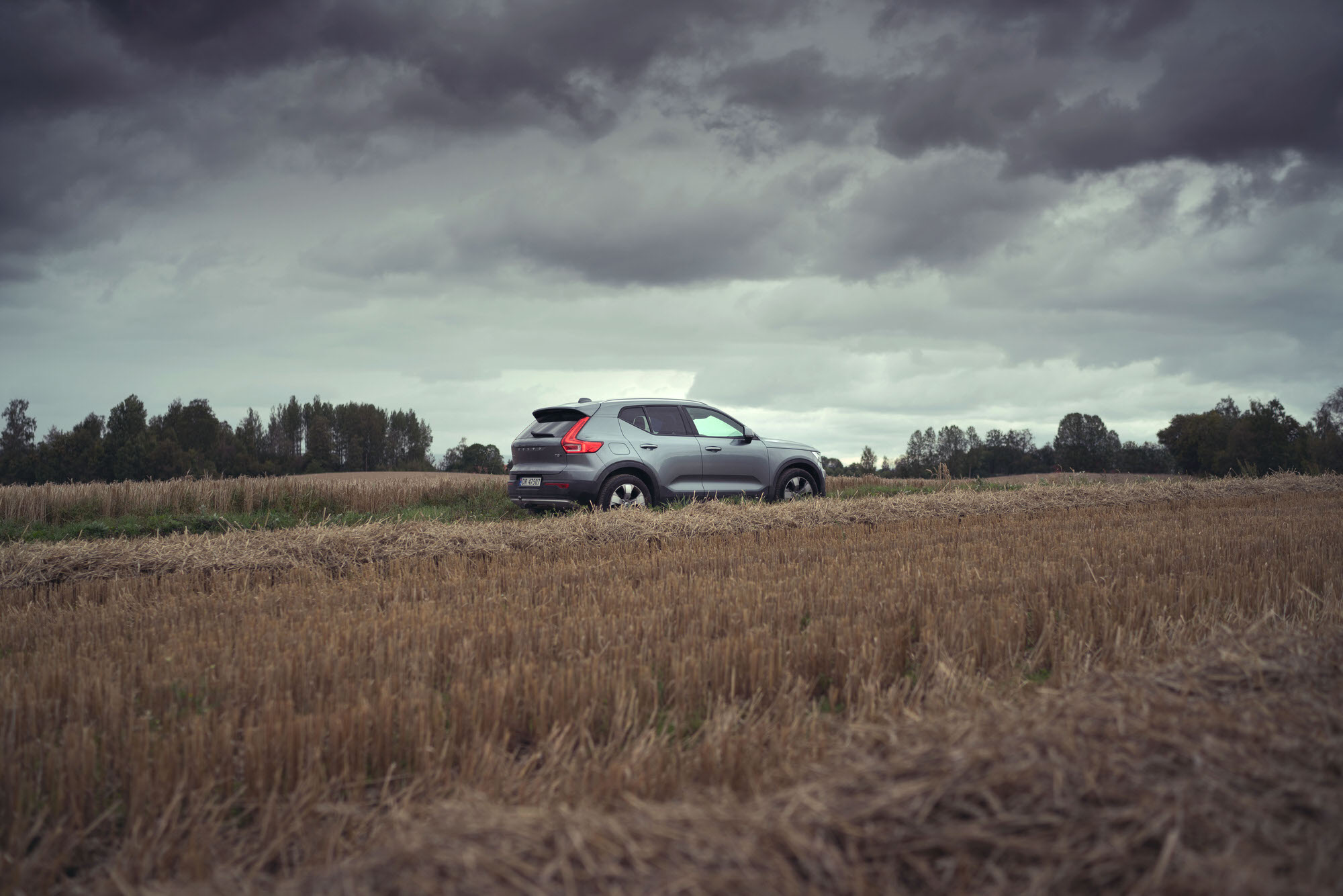 Silver Volvo XC40 on a cloudy overcast day in Hamar, Norway