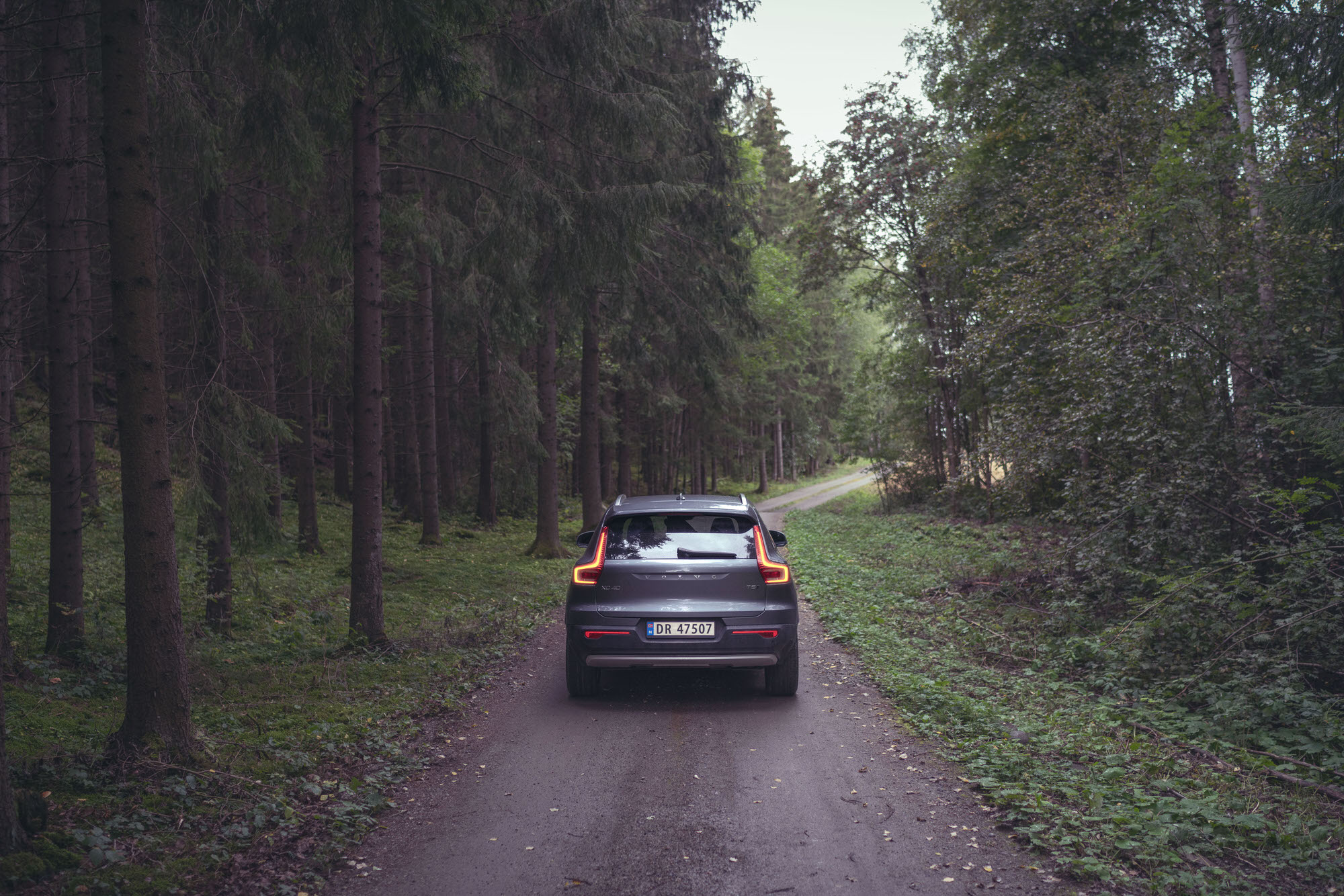 Rural forests of Hamar, Norway in a silver Volvo XC40