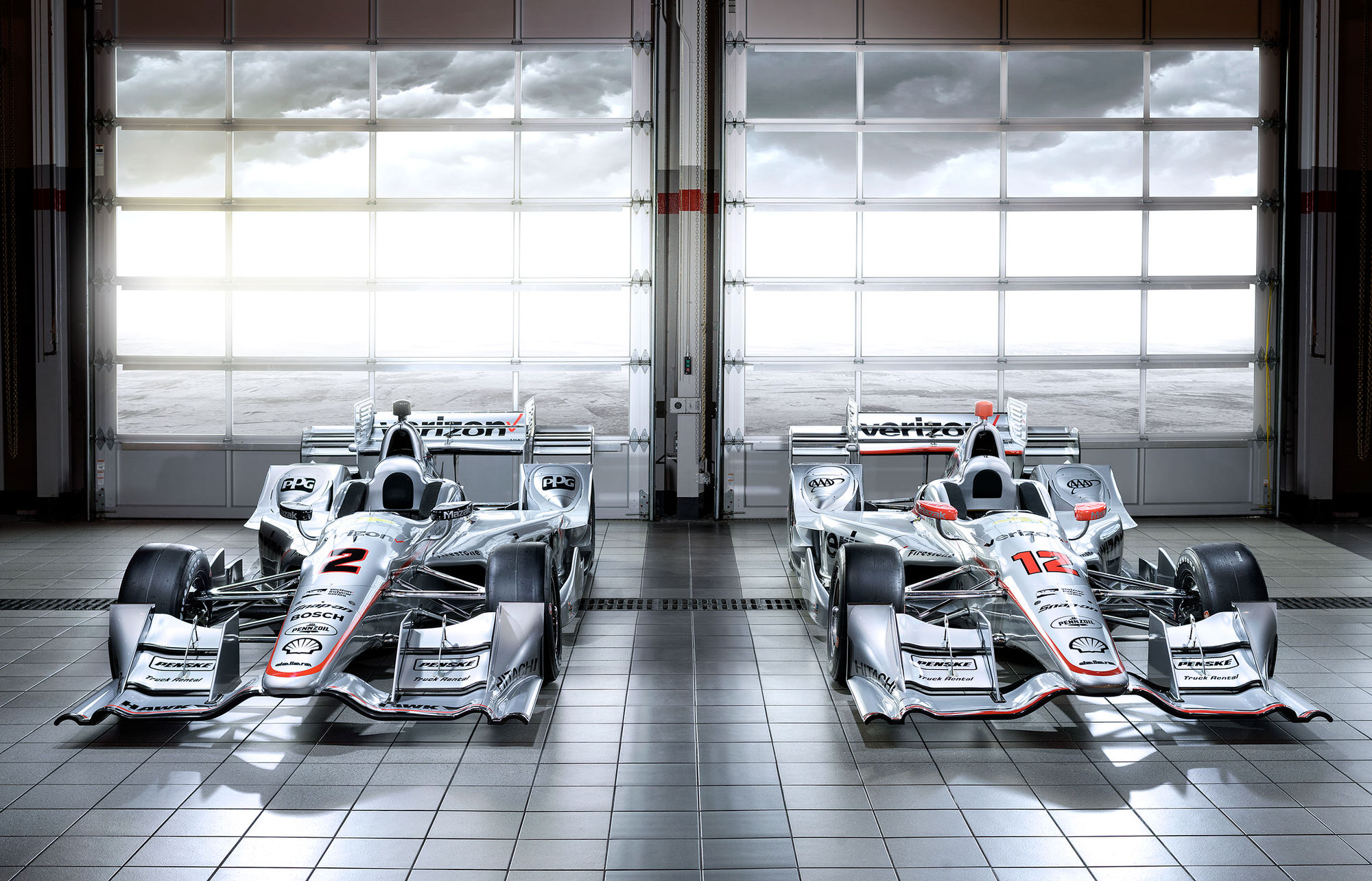 Team Penske Verizon IndyCar racecars Juan Pablo Montoya and Will Power